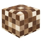 Woodland Imports Timeless and Beautiful Leather Ottoman; Brown / White