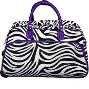 World Traveler Zebra 21'' 2 Wheeled Duffel; Dark Purple