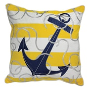 Rightside Design I Sea Life Stripe Embroidered Anchor Indoor/Outdoor Sunbrella Throw Pillow