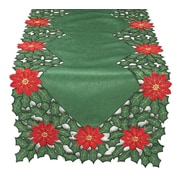 Xia Home Fashions Holly Leaf Poinsettia Embroidered Cutwork Holiday Table Runner; 48'' W x 12'' D