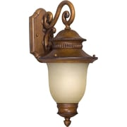 Forte Lighting 9'' One Light Outdoor Wall Lantern with Umber Linen Shade; Rustic Sienna