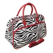 World Traveler Deluxe 20'' Travel Duffel; Black and White Zebra