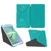 "roocase RC-GALX-TAB-S2-9.7-OG-SS-TB/GM Origami 3D PC/TPU Case for 9.7"" Samsung Galaxy Tab S2, Turquoise Blue/Gunmetal Gray"