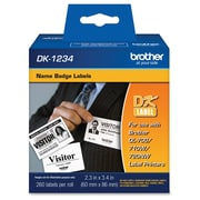 "Brother ® 3.4"" x 2.3"" Direct Thermal Name Badge Label, White, 260/Roll (DK1234)"