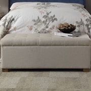 HomePop Wood Storage Bedroom Bench; Beige