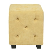 angelo:HOME Duncan Tufted Upholstered Cube Ottoman; Yellow