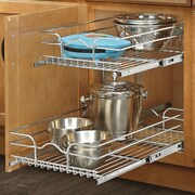 Rev-A-Shelf 15'' x 22'' 2 Tier Wire Basket Cabinet Organizer Rack