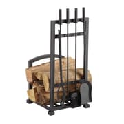 Pleasant Hearth 4 Piece Harper Fireplace Log Holder and Tool Set