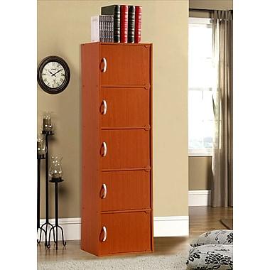 Hodedah 5 Door Storage Cabinet; Cherry