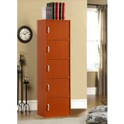 Hodedah 5 Door Storage Cabinet; Cherry