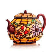 River of Goods Stained Glass Teapot Accent 7'' H Table Lamp with Novelty Shade