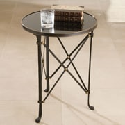 Global Views Draw Attention End Table; Iron & Black Granite