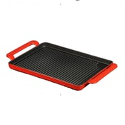 Chasseur Chasseur 14-inch Rectangular French Enameled Cast Iron Grill Pan with Handles; Flame Red