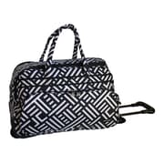 Jenni Chan Dots 20'' 2 Wheeled Carry-On Duffel; Black / White