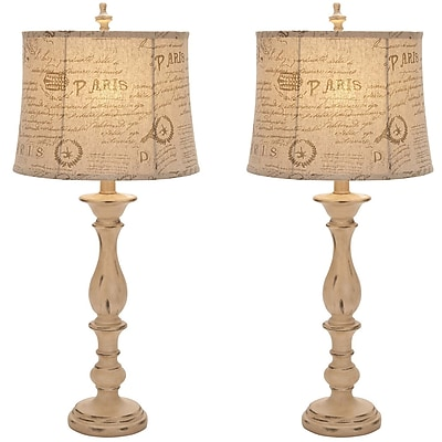 EC World Imports Urban French Connection Candlestick Style 34'' Table Lamps (Set of 2) (Set of 2) WYF078277431377