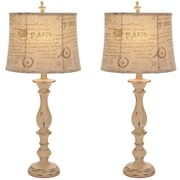 EC World Imports Urban French Connection Candlestick Style 34'' H Table Lamp w/Oval Shade (Set of 2)