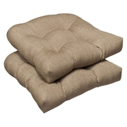 Pillow Perfect Outdoor Dining Chair Cushion (Set of 2); Tan Textured Solid