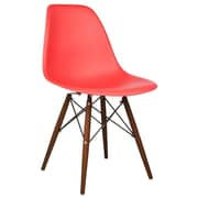 eModern Decor Shell Side Chair; Red