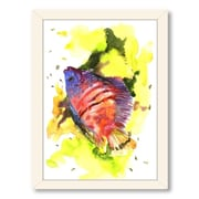 Americanflat Dwarfish by Suren Nersisyan Framed Painting Print in Red; Black