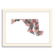 Americanflat Maryland Red/Black Framed Textual Art; Black