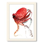 Americanflat Octopus Deep by Suren Nersisyan Framed Painting Print in Red; Black