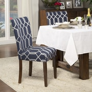 HomePop Traditional Parsons Chair (Set of 2); Fabric - Navy Blue / Cream Lattice