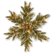 National Tree Co. Glittery Bristle Pine Snowflake with 21 White Tipped Cones and 50 Clear Lights