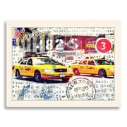 Americanflat NYC Taxi Emboss Framed Textual Art; White
