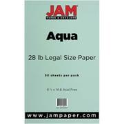 JAM Paper® 28lb Legal Paper, 8 1/2 x 14, Aqua, 50/Pack (16729307)