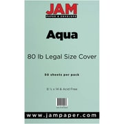 JAM Paper® 80lb Legal Cardstock, 8 1/2 x 14, Aqua, 50/Pack (16729312)
