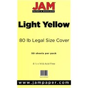 JAM Paper® 80lb Legal Cardstock, 8 1/2 x 14, Light Yellow, 50/Pack (16729341)