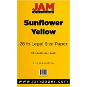 JAM Paper® 28lb Legal Paper, 8 1/2 x 14, Sunflower Yellow, 50/Pack (16729346)