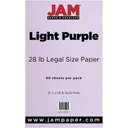 JAM Paper® 28lb Legal Paper, 8 1/2 x 14, Light Purple, 50/Pack (16729377)