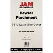 JAM Paper® Recycled Legal Cardstock, 8 1/2 x 14, Pewter Parchment, 50/Pack (17128862)