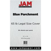 JAM Paper® Recycled Legal Cardstock, 8 1/2 x 14, Blue Parchment, 50/Pack (17128863)