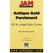 JAM Paper® Recycled Legal Cardstock, 8 1/2 x 14, Antique Gold Parchment, 50/Pack (17128864)