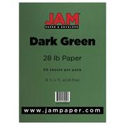 JAM Paper® 28lb Paper, 8 1/2 x 11, Dark Green, 50/Pack (64429278)