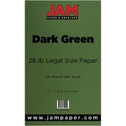JAM Paper® 28lb Legal Paper, 8 1/2 x 14, Dark Green, 50/Pack (64429551)