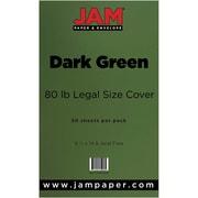 JAM Paper® 80lb Legal Cardstock, 8 1/2 x 14, Dark Green, 50/Pack (64429556)