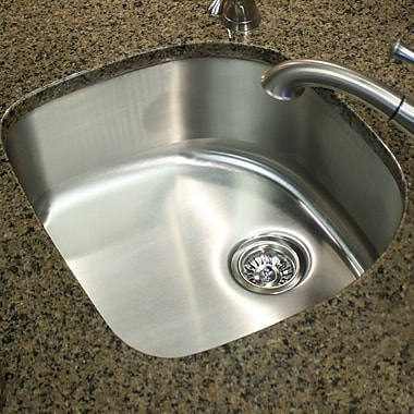 Nantucket Sinks Quidnet 23.75'' x 21.5'' 18 Gauge D Shape Undermount Kitchen Sink in Brushed Satin