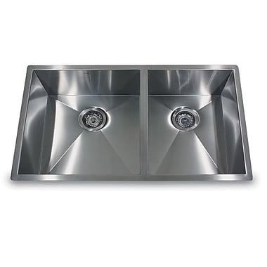 Nantucket Sinks Pro Series 32'' x 19'' Double Offset Undermount Kitchen Sink