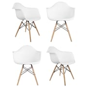 eModern Decor Mid Century Modern Scandinavian Arm Chair (Set of 4); White