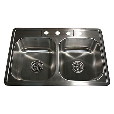 Nantucket Sinks Madaket 33'' x 22'' 50/50 Double Bowl Stainless Steel Kitchen Sink