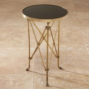 Global Views Draw Attention End Table; Brass & Black Granite