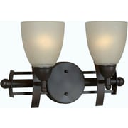 Forte Lighting 2 Light Vanity Light; Antique Bronze / Umber Linen