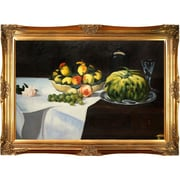 Tori Home Still Life with Melon and Peaches by Edouard Manet Framed Painting Print on Wrapped Canvas