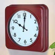 AdecoTrading Square Traditional Vintage Dial Retro Wall Hanging Clock; Red / White