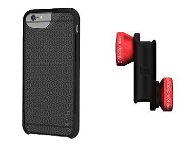 Olloclip 4-in-1 Photo Lens and Case for iPhone 6/6s, Red/Black Lens and Smoke/Black Case (OC-0000117-EU) IM11N0352