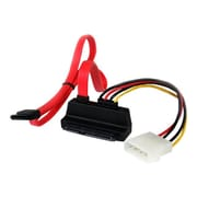 """StarTech.com 18"""" Upward Right Angle SATA Data Transfer Cable with LP4 Adapter, Red"""