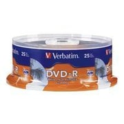 Verbatim ® DVD Recordable Media with White Inkjet Printable Surface, 4.7GB, DVD-R, 16x, 25/Pack (96191)